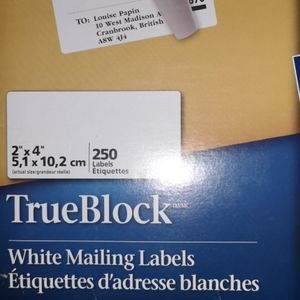 250 White Mailing Labels